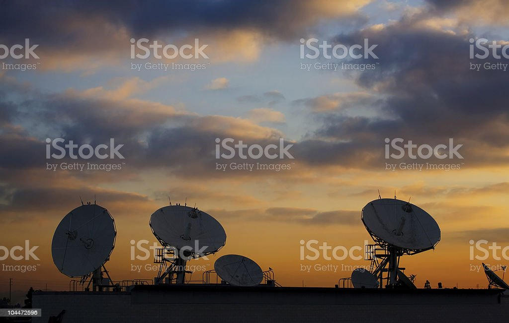 Satellite Dishes on Roof 2 stock photo
