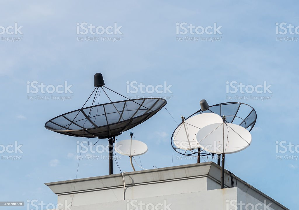 Satellite dishes on the roof stock photo