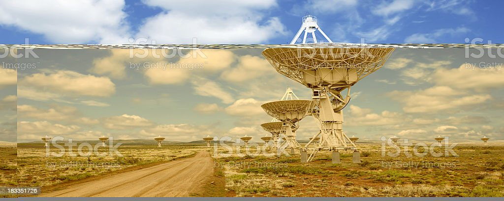 XL satellite dishes stock photo