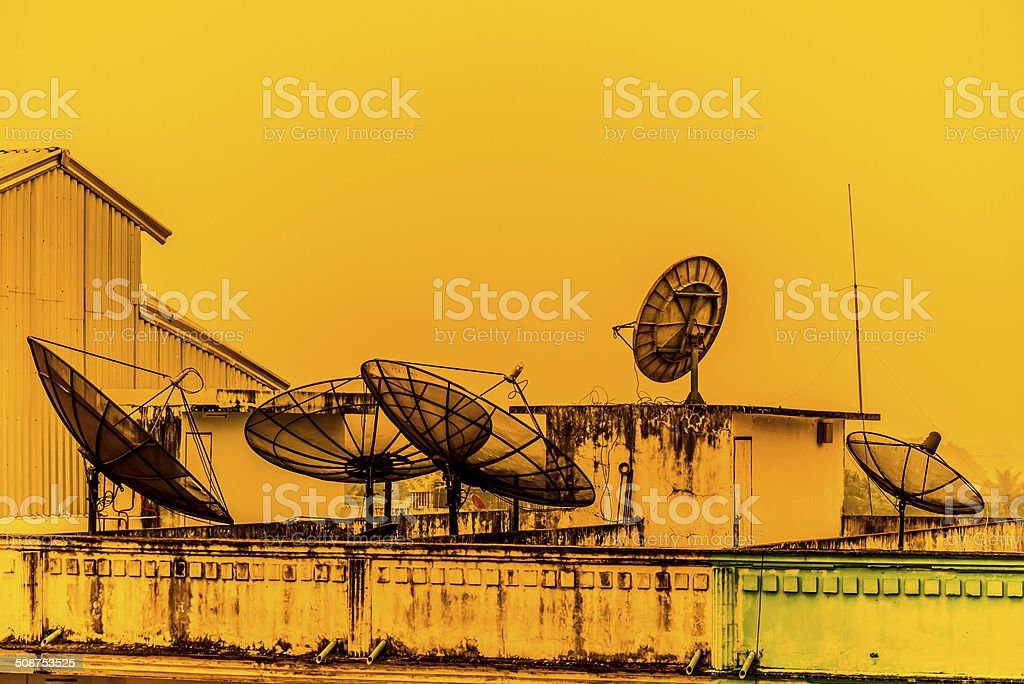 satellite dishes stock photo