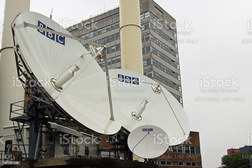 BBC Satellite Dishes, West London stock photo