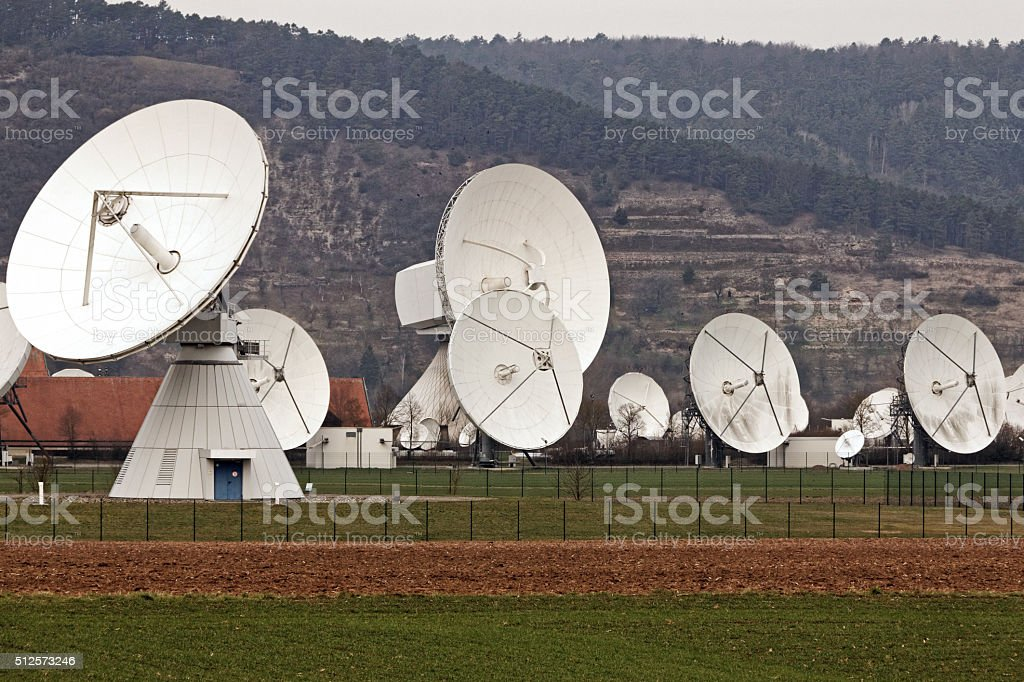 satellite earth station stock photo