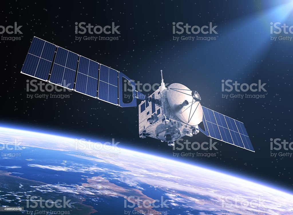 Satellite In The Rays Of Light stock photo