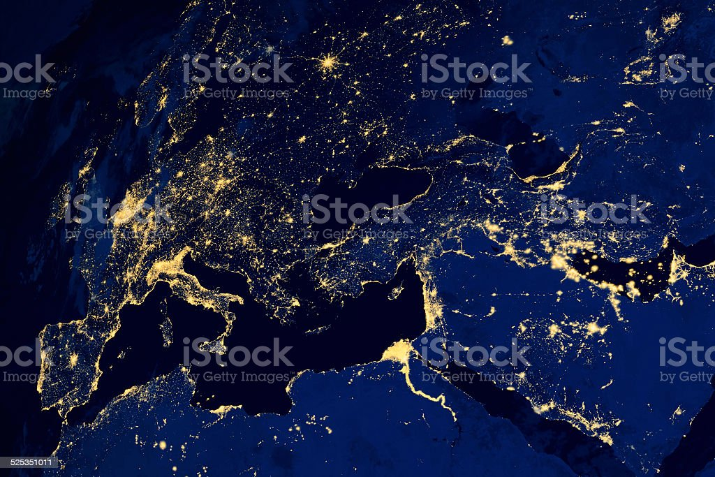 Satellite map of European cities night stock photo