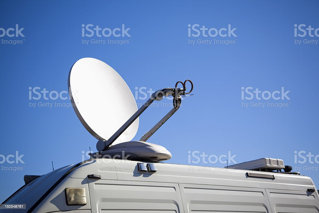 Satellite on van. Tv transmission. stock photo