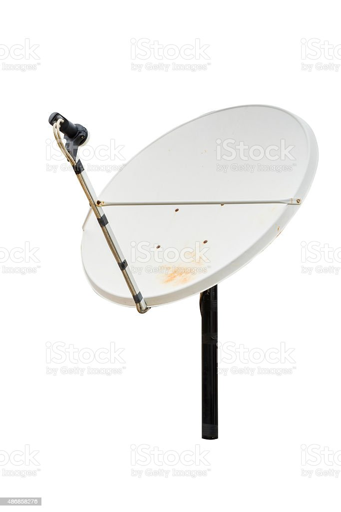 Satellite one white background stock photo