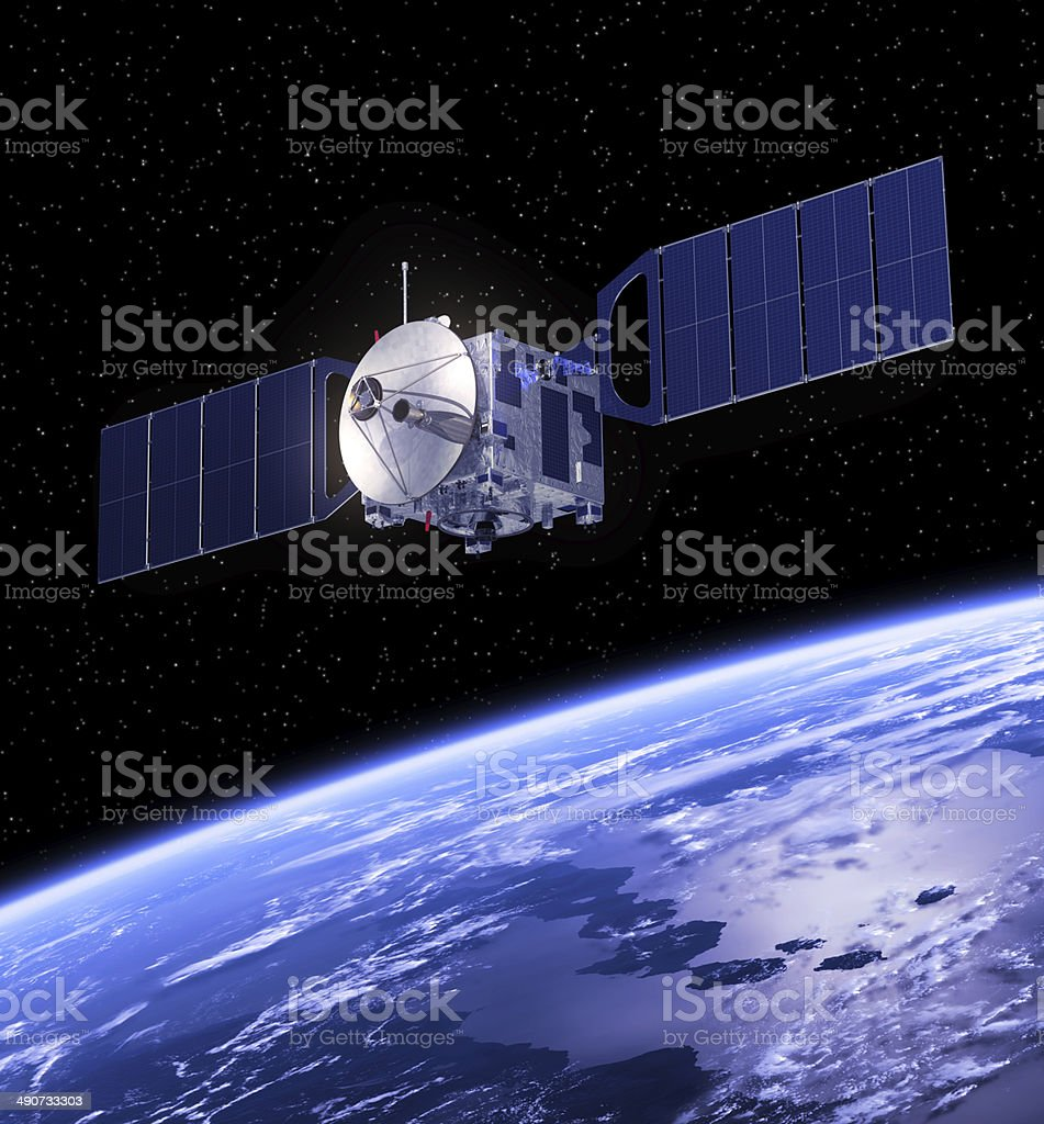Satellite Orbiting Earth. stock photo