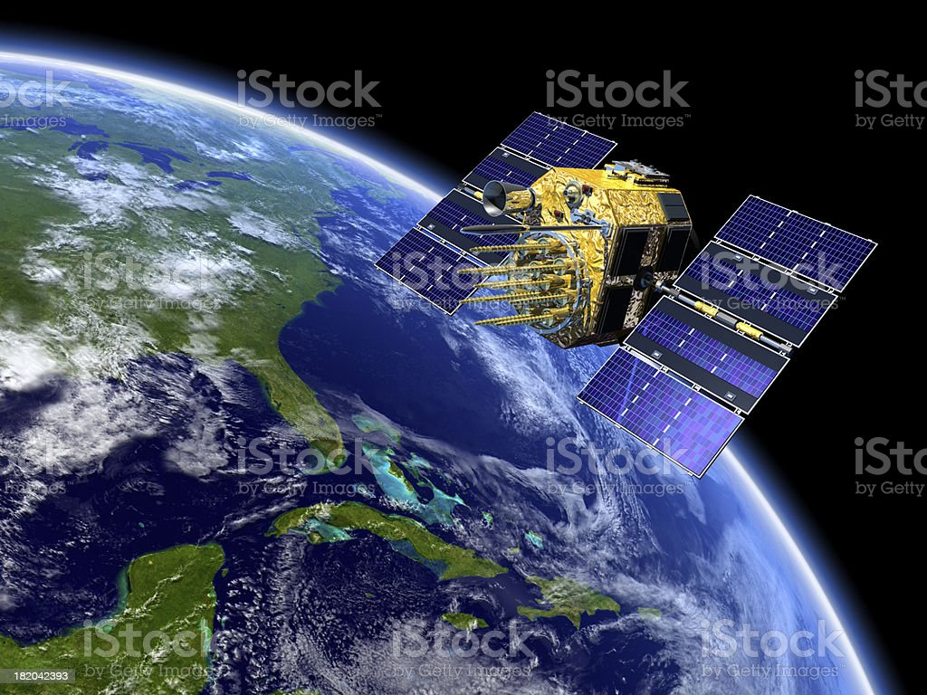 GPS Satellite Over Earth stock photo