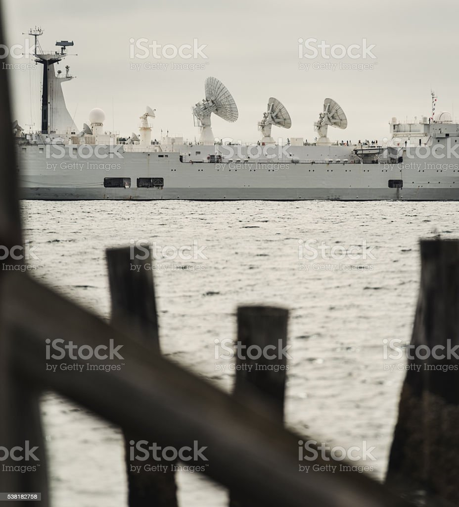 Satellite Ship Departure stock photo