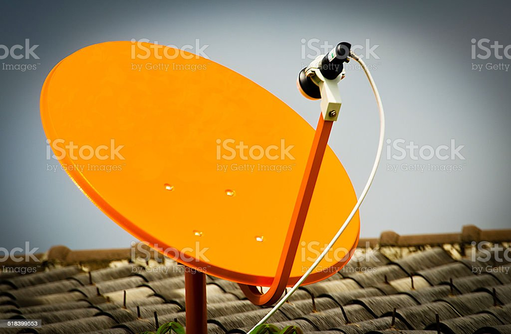 Satellite Signal Receiver Dish for Television stock photo