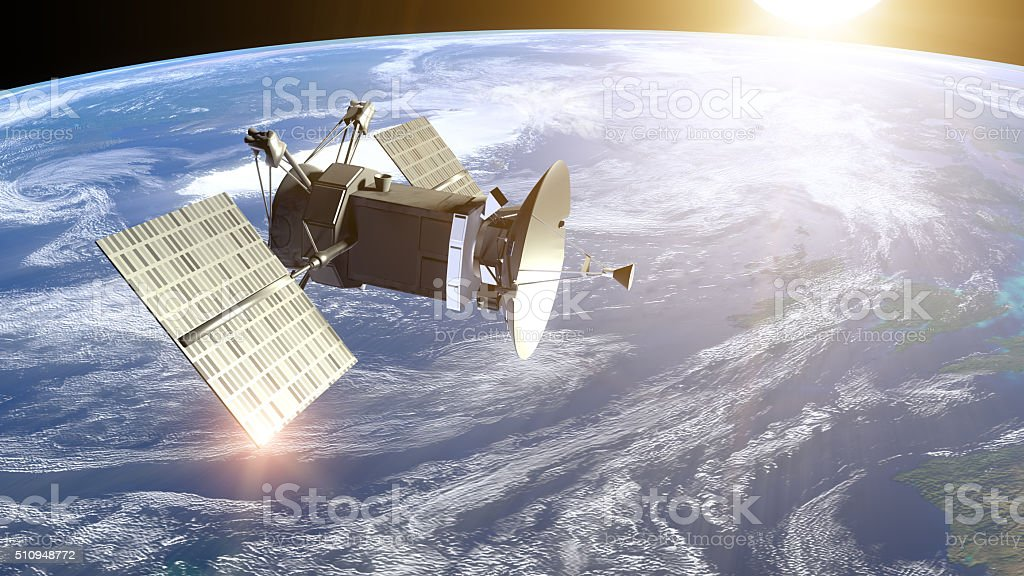 Satellite under Earth stock photo