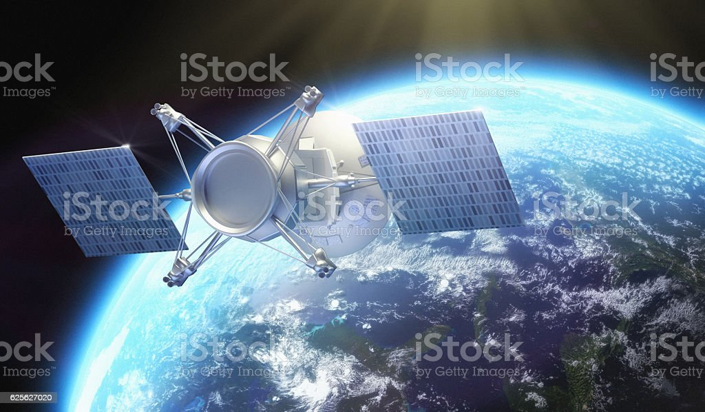 Satellite under Earth stock photo