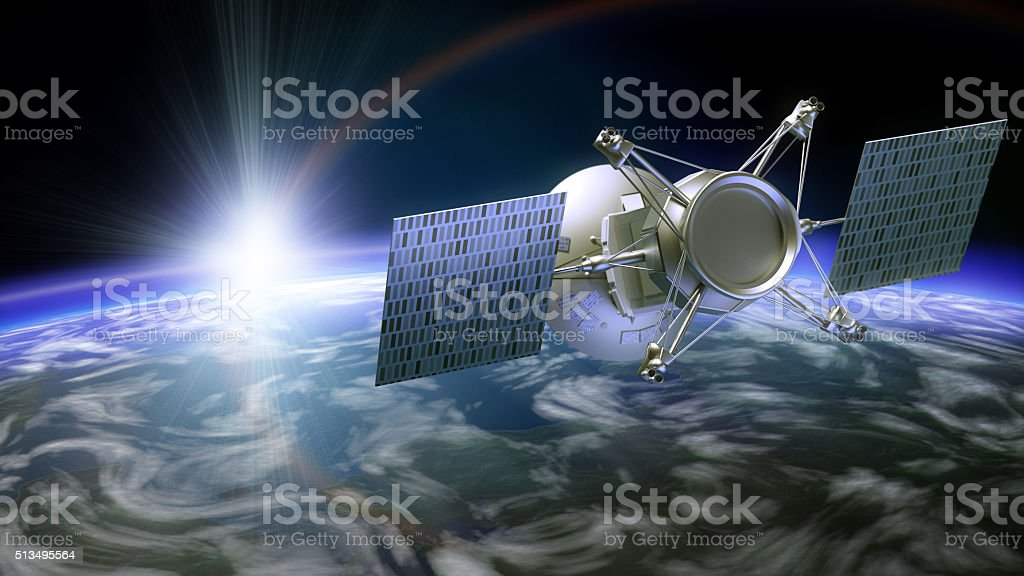 Satellite under planet stock photo