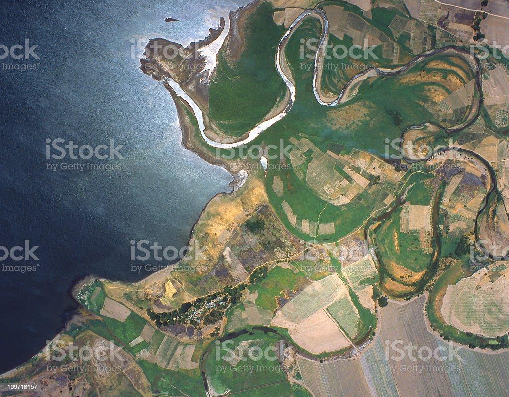 Satellite View of Coastal El Salvador stock photo