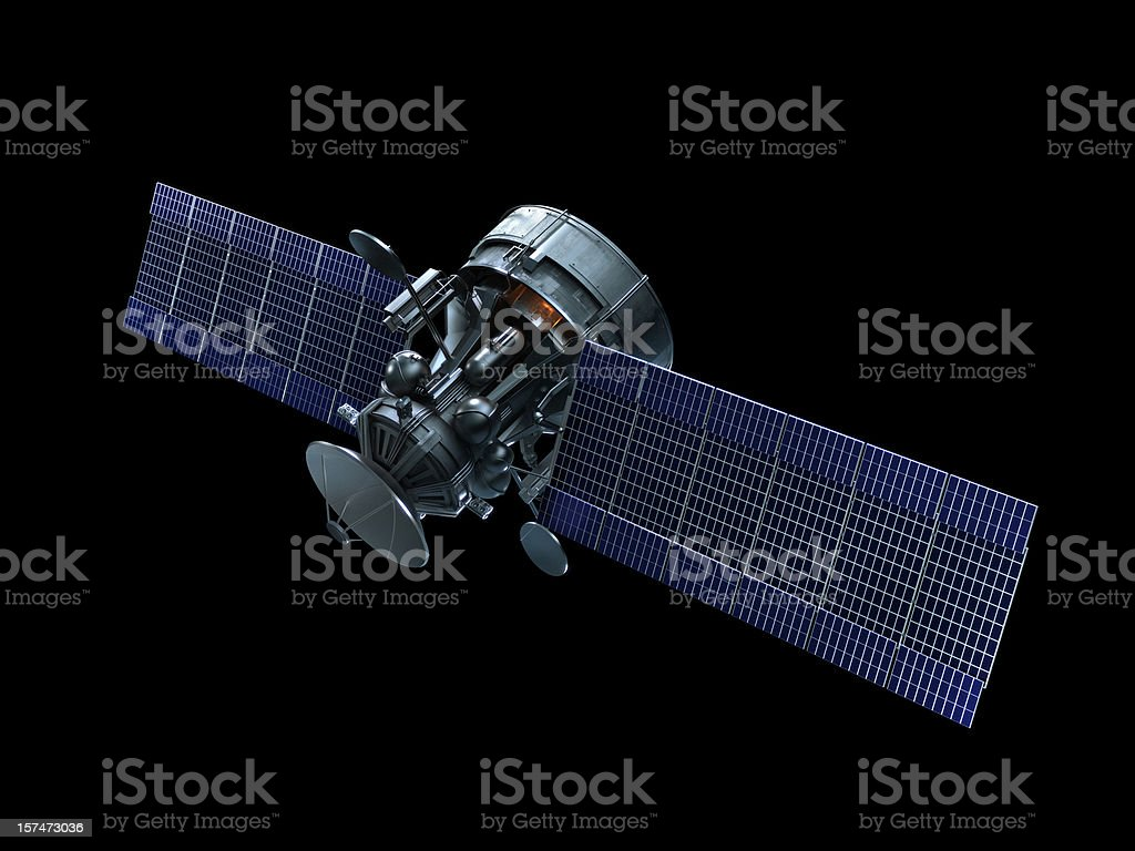 A satellite with blue solar panels on a black background royalty-free stock photo
