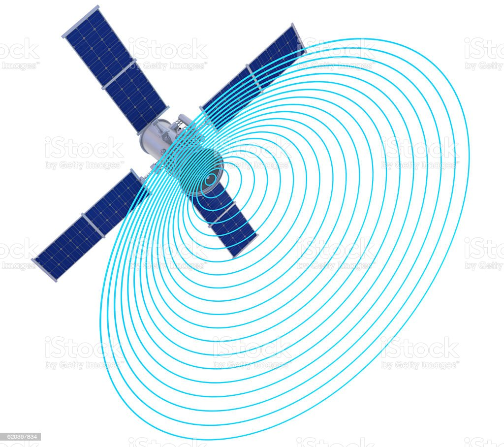 Satellite with signal waves stock photo