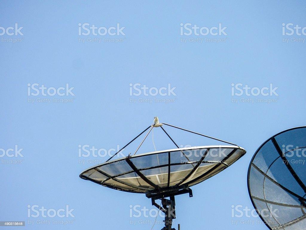 satellites on roof stock photo