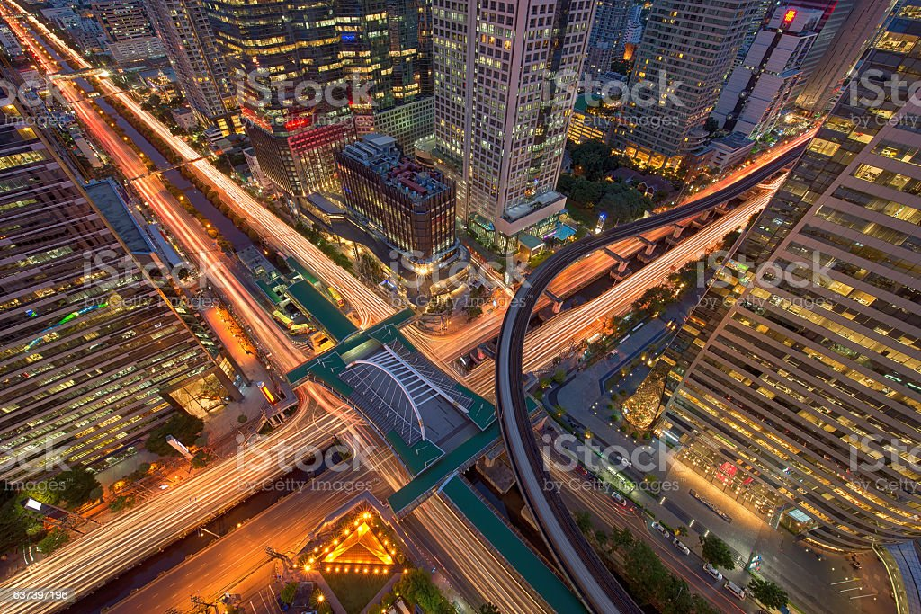 Sathorn Intersection, Bangkok, Thailand stock photo