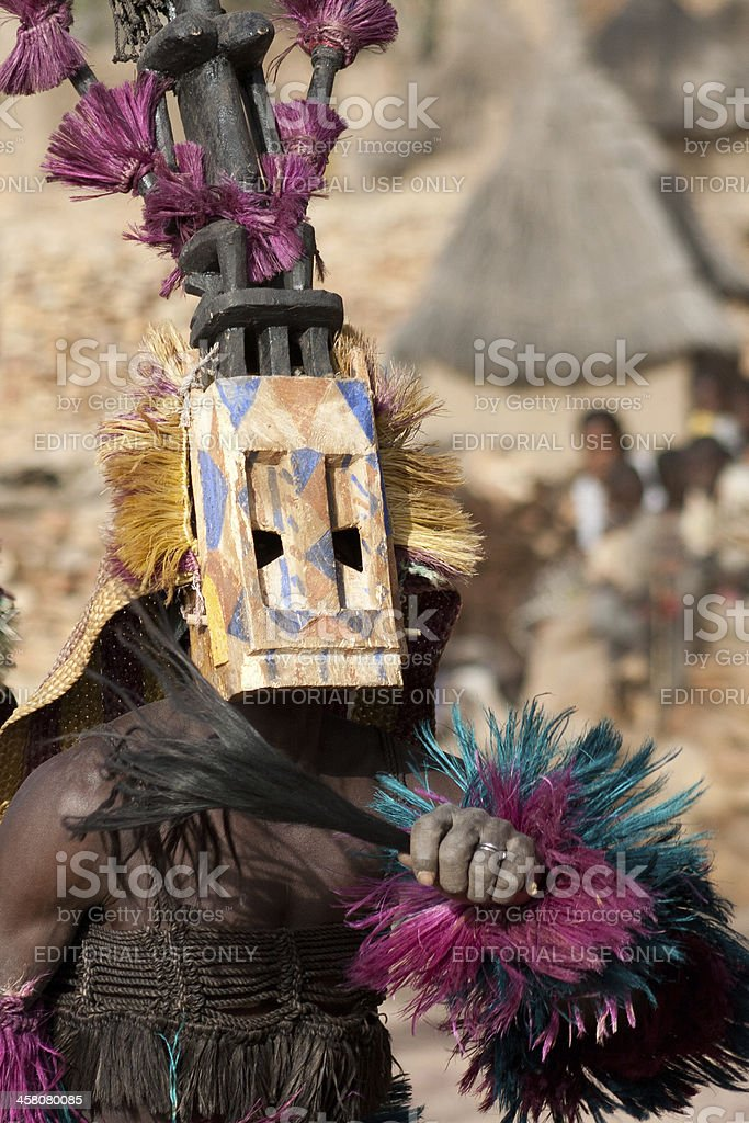 Satibe mask and the Dogon dance, Mali. stock photo