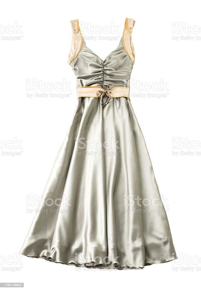 Satin ruched sweetheart bodice belted dress stock photo