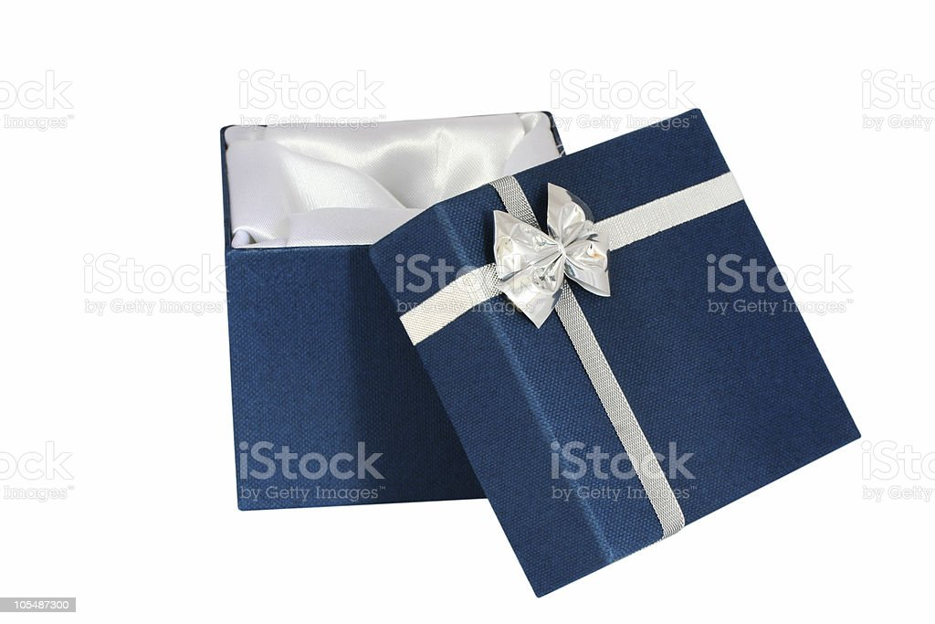 Satin-Lined Blue Gift Box royalty-free stock photo