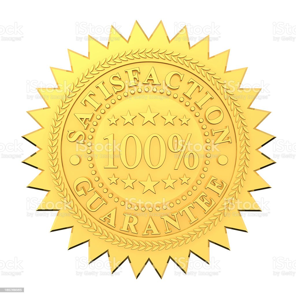 100% satisfaction guaranteed golden seal stock photo