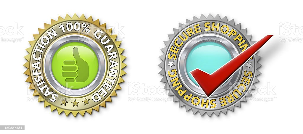 Satisfaction & Secure Icons stock photo