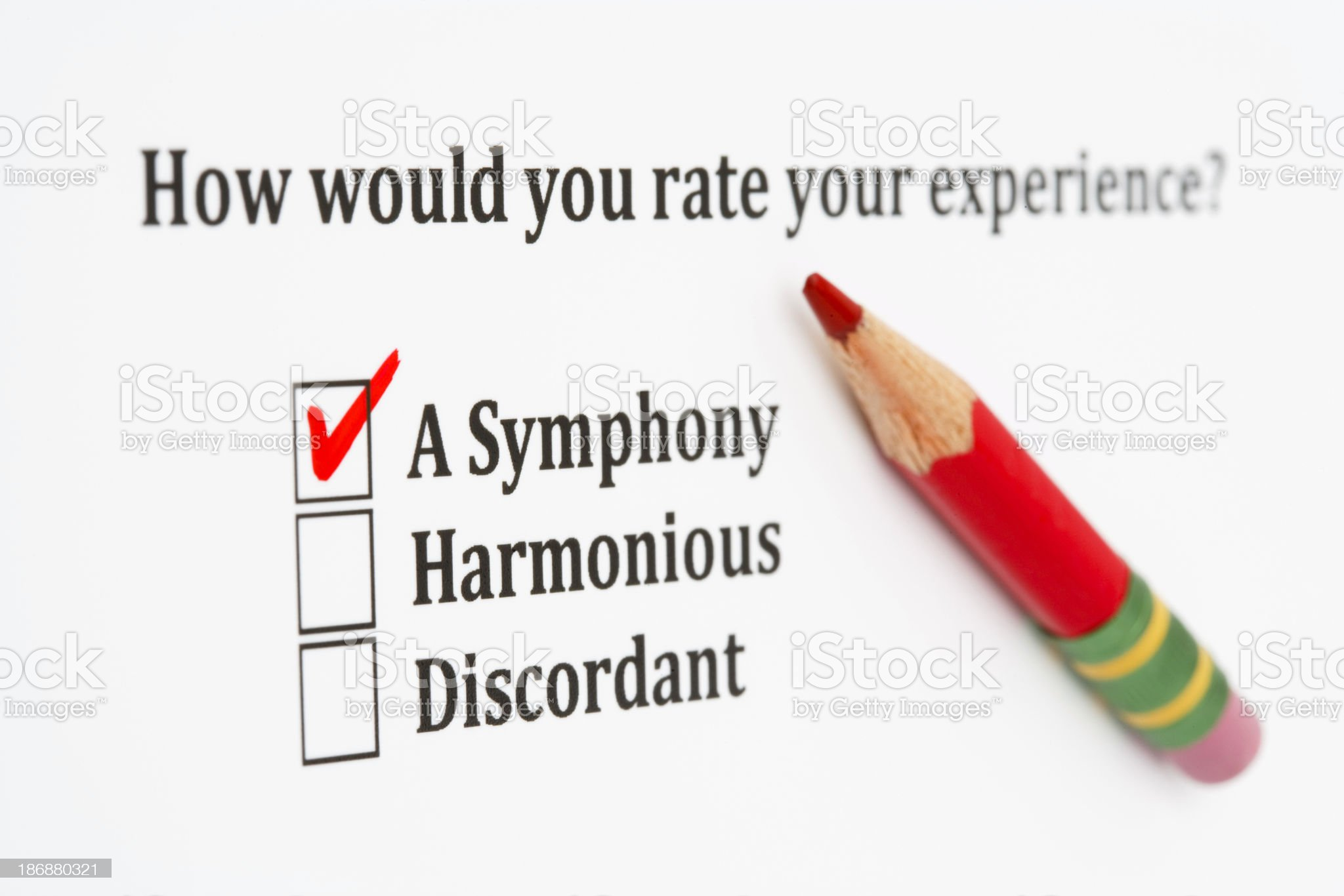 Satisfaction survey with checkboxes and red pencil royalty-free stock photo