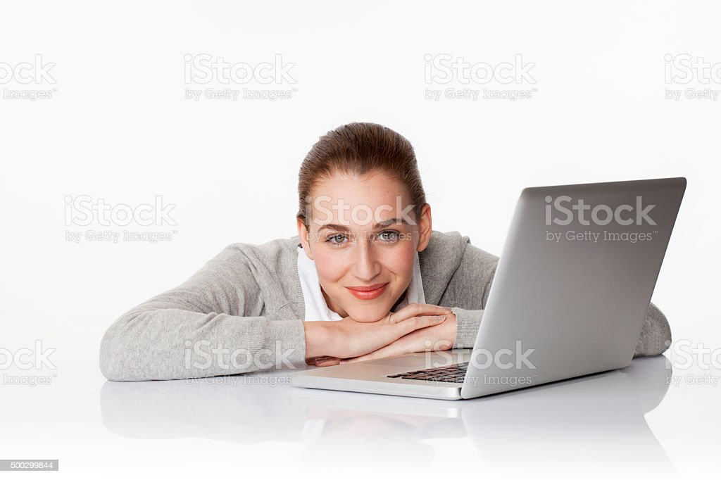 satisfied 20s business girl or female student with laptop stock photo