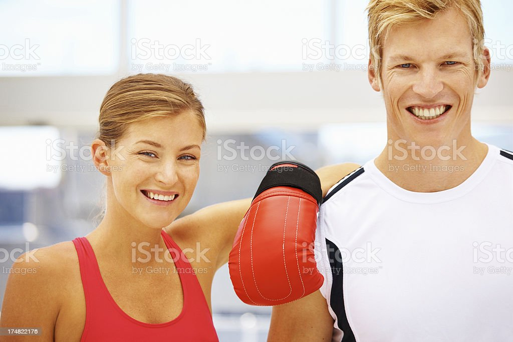 Satisfied after a great boxing session royalty-free stock photo