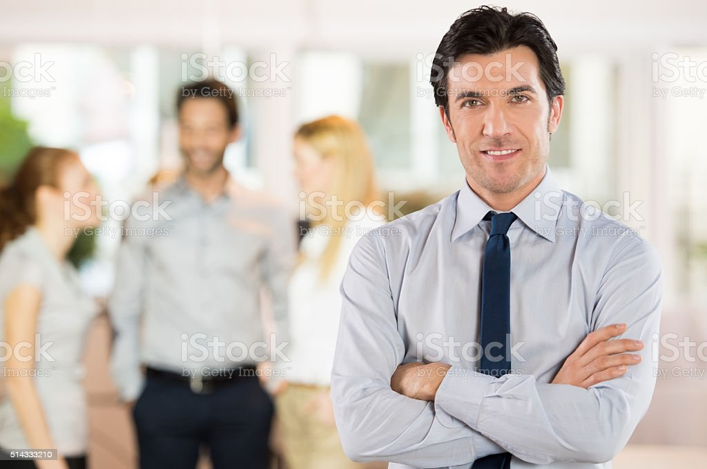 Satisfied businessman stock photo