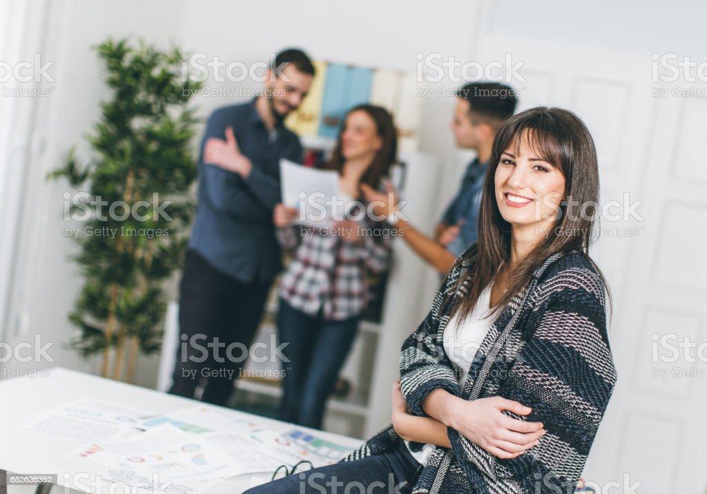 Satisfied businesswoman stock photo