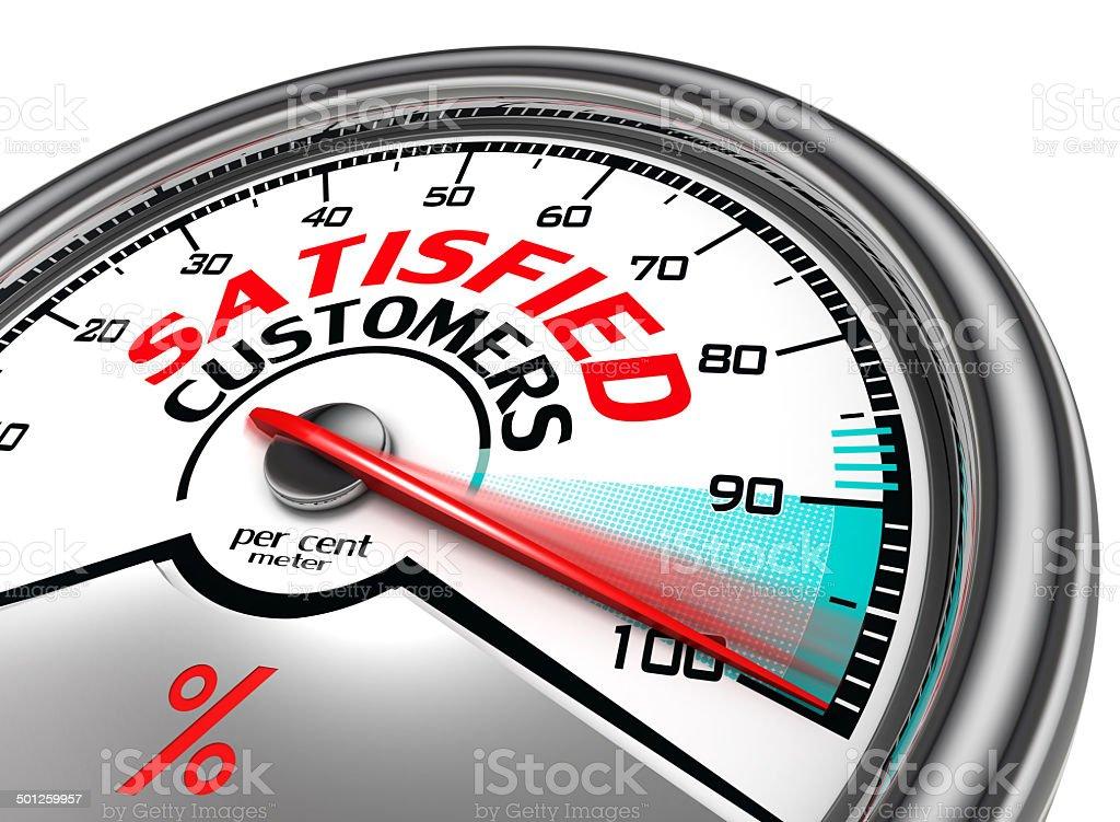 satisfied customers conceptual meter stock photo