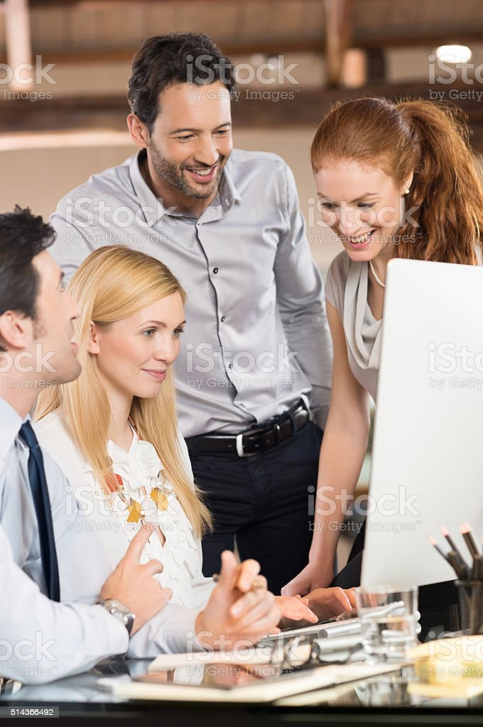 Satisfied happy business people stock photo