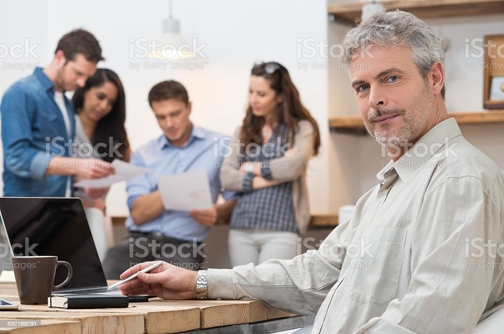 Satisfied leadership stock photo