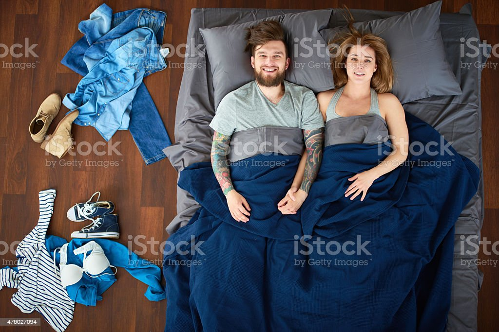 Satisfied lovers stock photo