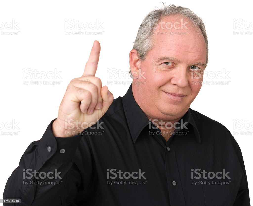 Satisfied Man Gestures Number One Finger royalty-free stock photo
