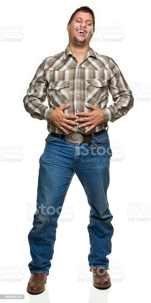 Satisfied Man Holding Stomach royalty-free stock photo
