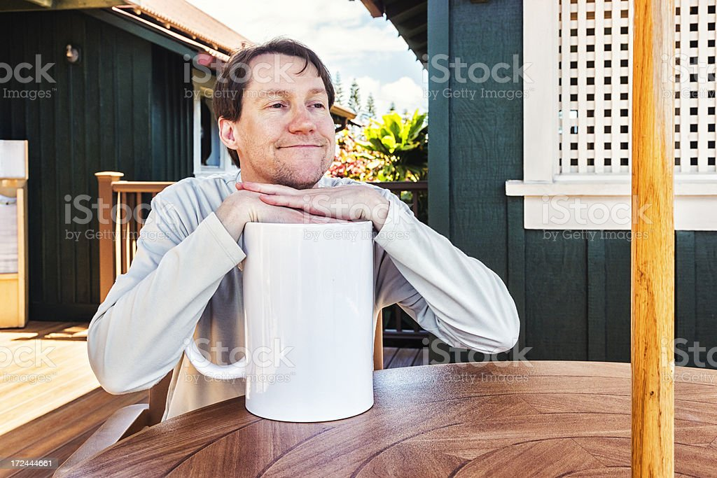 Satisfied Man with Extra Large Cup of Coffee royalty-free stock photo