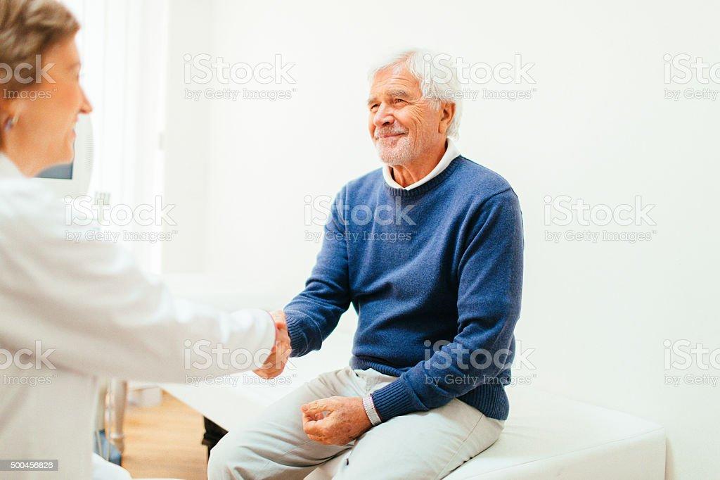 Satisfied patient stock photo