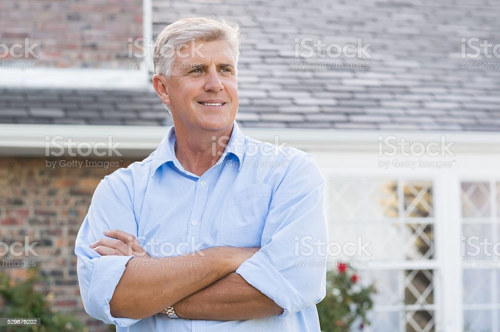 Satisfied senior man stock photo