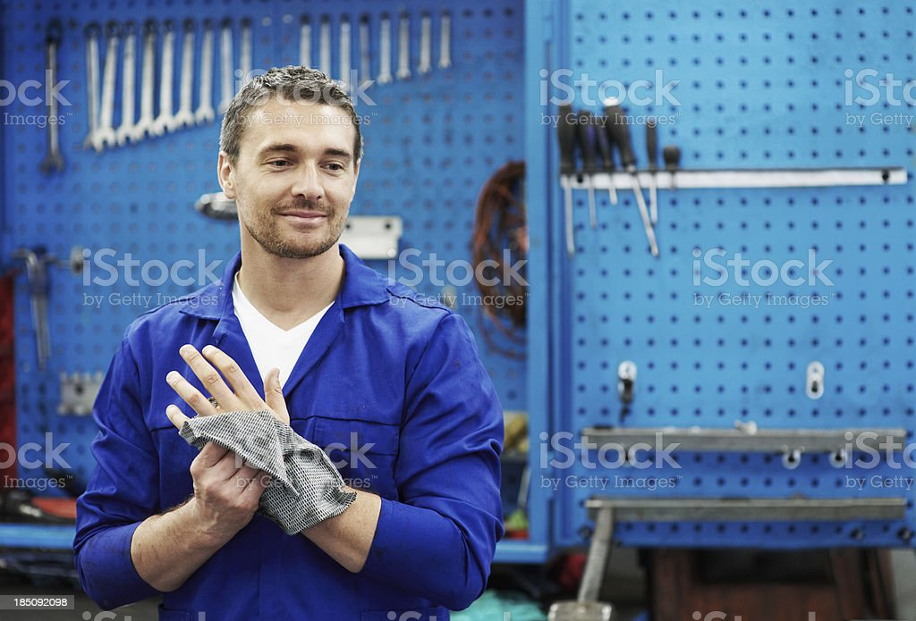 Satisfied with a job well done! stock photo