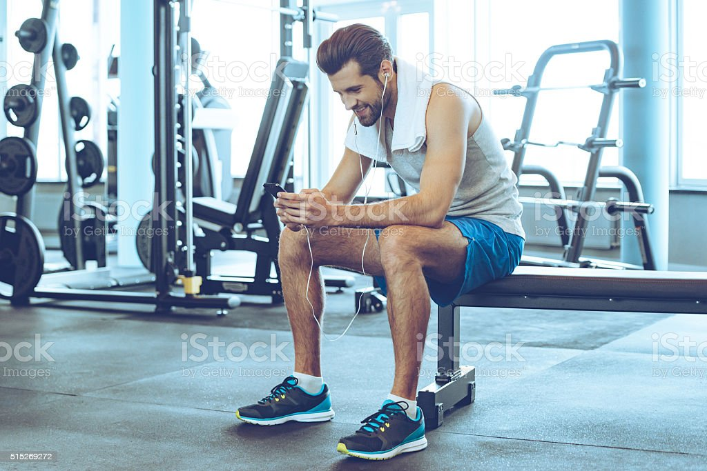 Satisfied with his work out. stock photo
