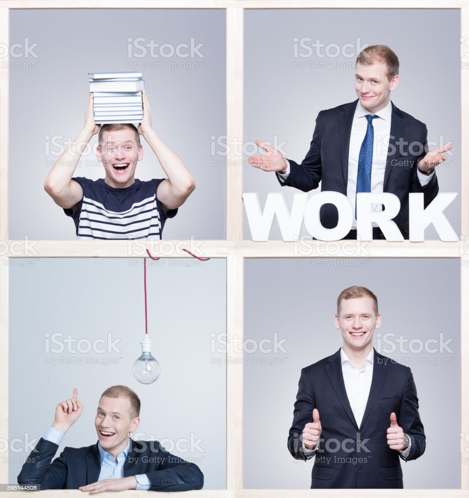 Satisfied with my job stock photo