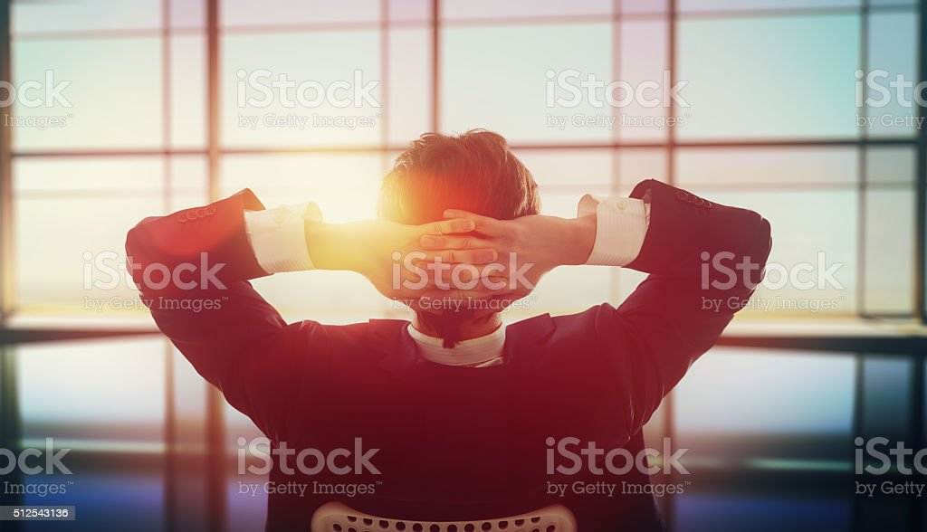 Satisfied with work done stock photo