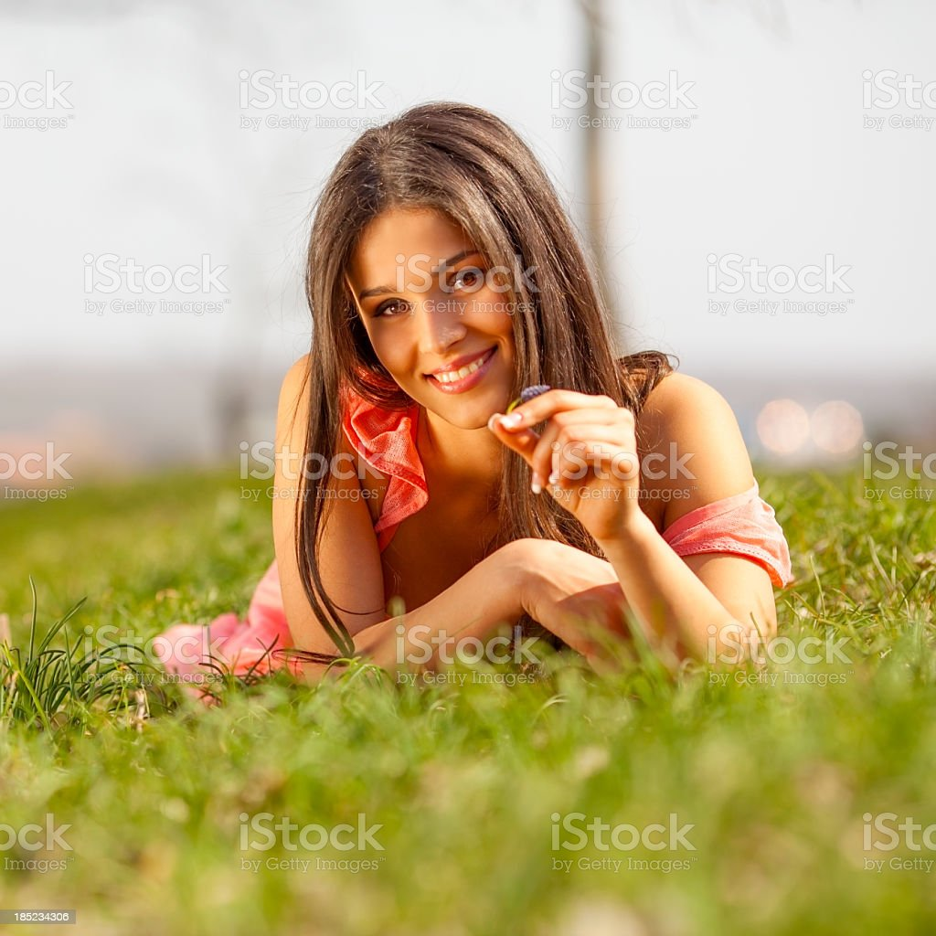 Satisfied woman royalty-free stock photo