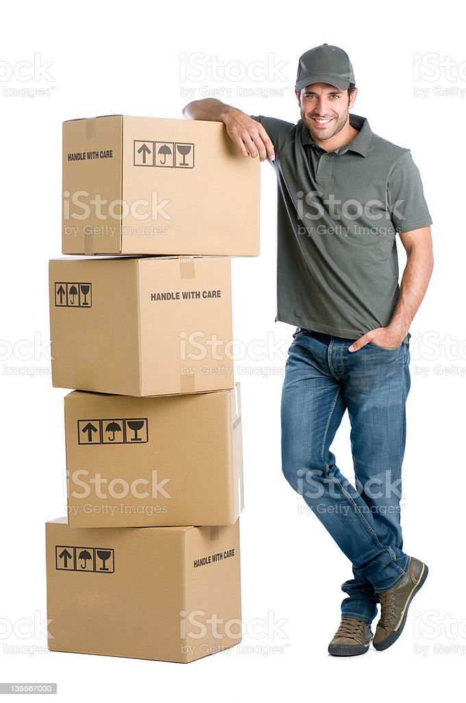 Satisfied worker with boxes royalty-free stock photo