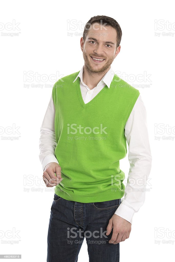 Satisfied young businessman in green sweater isolated. royalty-free stock photo