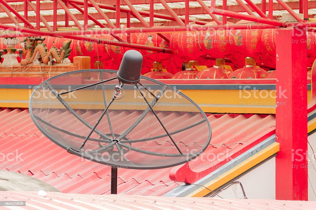 Sattellite dish on the china temple roof stock photo