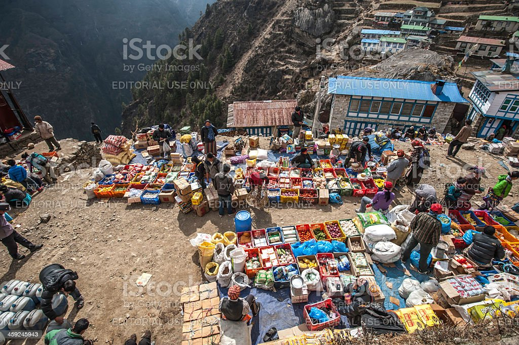 Saturday a weekly market at Namche Bazaar stock photo